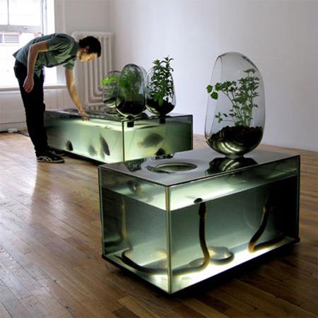 Akuarium yang dibuat oleh mathieu lehanneur. terdiri dari bibit ikan